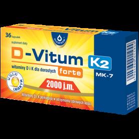 Vitamin D 2000 IU + K2 75 µg Bones Immune System 36 capsules flax seed oil