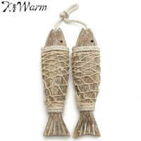 KiWarm 2Pcs Mediterranean Style Rustic Coastal Hand Carved Hanging Wood Fish Ornaments Wall Sculptures For Home Hanging Decor