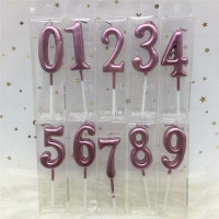 1pc Silver Rose Gold Candles For Happy Birthday Party Decorations 0-9 Number Candles Cake Cupcake Topper Party Supplies
