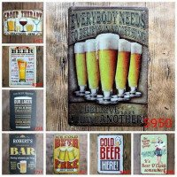 Ice Cold Free Beer Here Painting Art Poster Antique Metal Tin Signs Bar Pub Club Home Decorative Retro Wall Stickers YN010